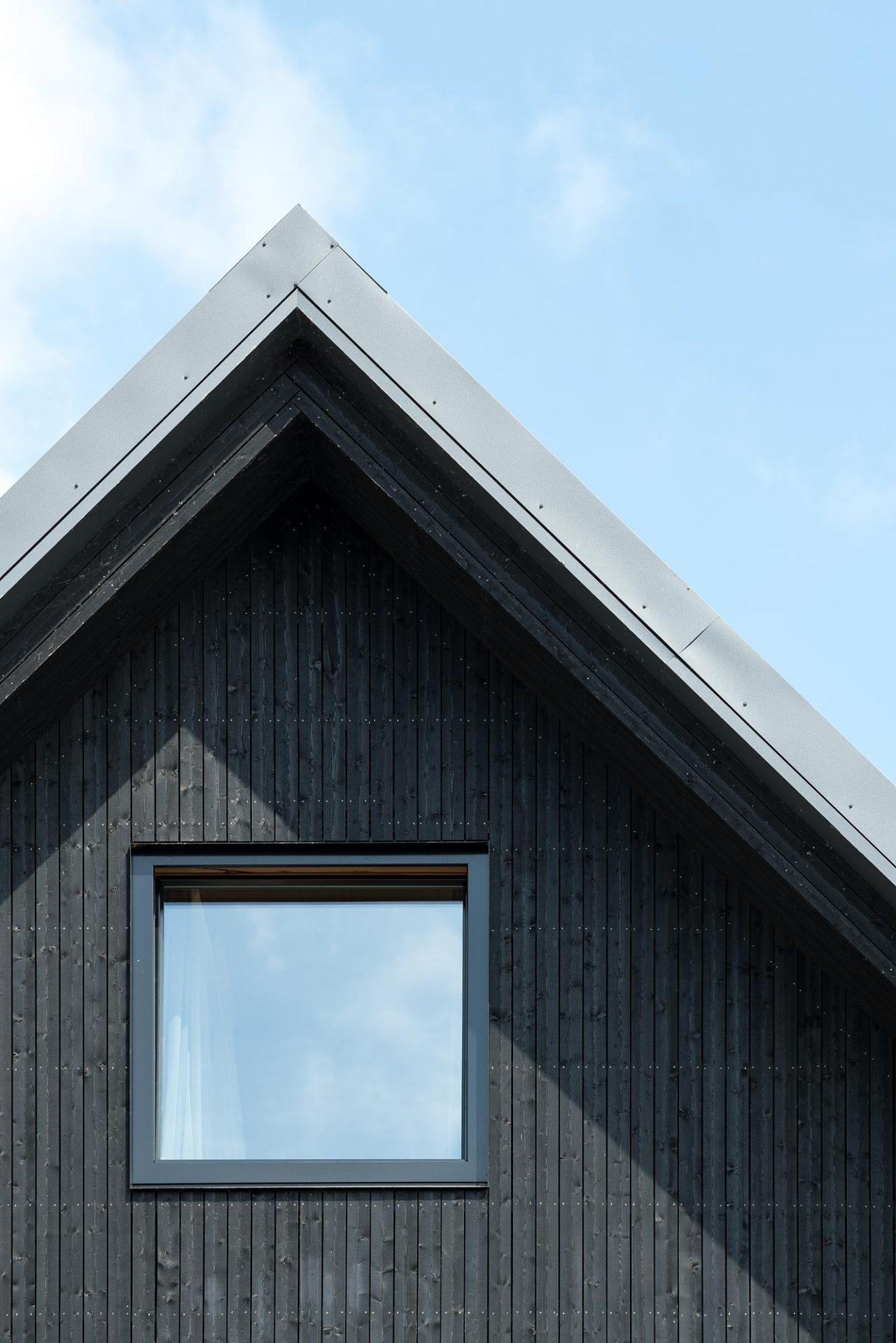zwart houtskeletbouw huis met Scandinavische uitstraling
