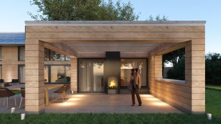 houtskeletbouw Barentsz huis met veranda